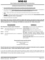 Instructions for Form Wne-02 - West Virginia Wine Suppliers Report