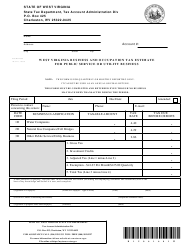 Form WV/BOT-300 West Virginia Business and Occupation Tax Estimate for Public Service or Utility Business - West Virginia