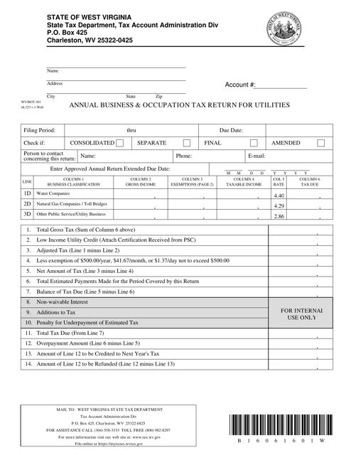 Form WV/BOT-301  Printable Pdf