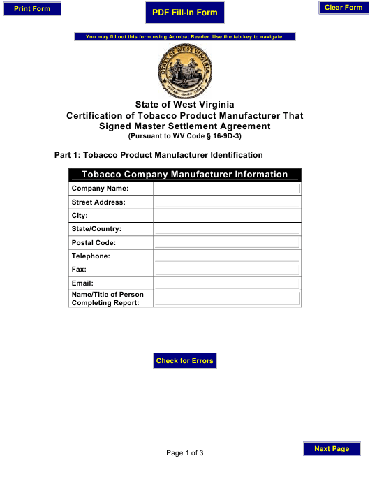State Of West Virginia Certification Form Of Tobacco Product