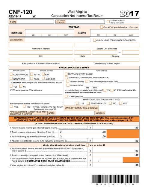 Form CNF-120 2017 Printable Pdf