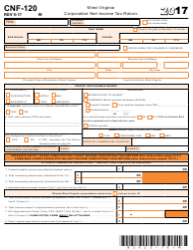 Form CNF-120 2017 West Virginia Corporation Net Income Tax Return - West Virginia