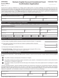 Form VEN-2 Venture Capital Account Investment Fund Confirmation Application - Virginia