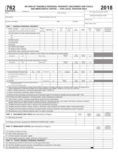 Form 762 2018 Fillable Pdf