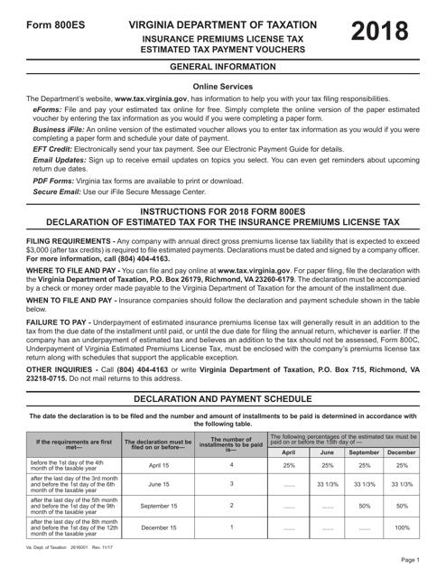 Form 800ES 2018 Printable Pdf