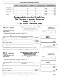 Form 800ES 2018 Insurance Premiums License Tax Estimated Tax Payment Vouchers - Virginia, Page 3