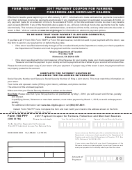 Form 760-PFF 2017 Payment Coupon for Farmers, Fishermen and Merchant Seamen - Virginia