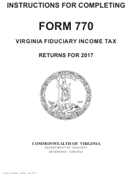 Instructions for Form 770 - Virginia Fiduciary Income Tax 2017