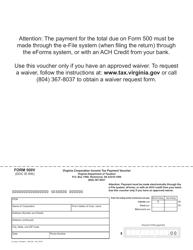 Form 500V Virginia Corporation Income Tax Payment Voucher - Virginia