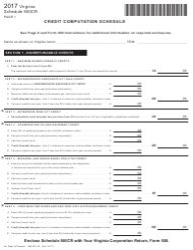 Form 2601011-W 2017 Schedule 500cr - Credit Computation Schedule - Virginia