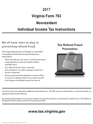 Instructions for Virginia Form 763 - Nonresident Individual Income Tax 2017