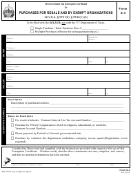 "VT Form S-3 ""Purchases for Resale and by Exempt Organizations"" - Vermont"