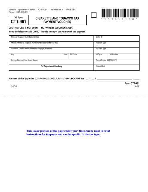 VT Form CTT-961 Printable Pdf