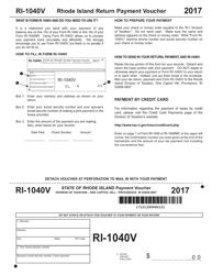 Form RI-1040V 2017 Rhode Island Return Payment Voucher - Rhode Island