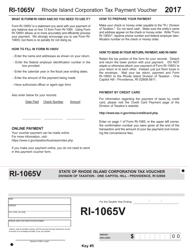 Form RI-1065V 2017 Rhode Island Corporation Tax Payment Voucher - Rhode Island