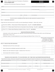Form BUS-EXT Business Tax Automatic Extension Request - Rhode Island