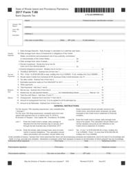Form T-86 2017 Bank Deposits Tax - Rhode Island