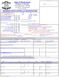 "Form BAR ""Business Application and Registration"" - Rhode Island"