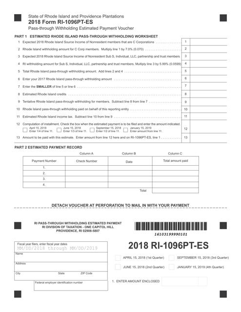 Form RI-1096PT-ES 2018 Fillable Pdf
