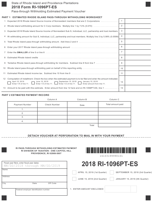 Form RI-1096PT-ES 2018 Fillable Pdf