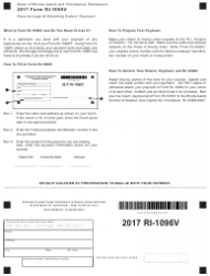 Form RI-1096V 2017 Pass-Through Withholding Return Payment - Rhode Island