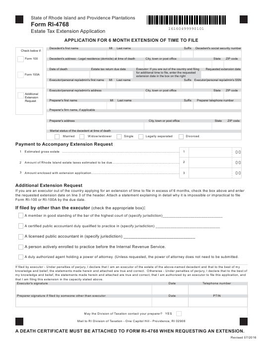 power of attorney form 4868  Form RI-10 Download Fillable PDF, Estate Tax Extension ...