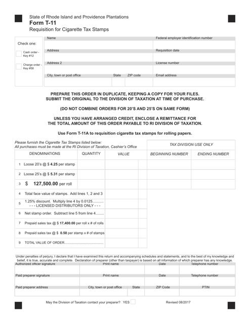 Form T-11  Printable Pdf