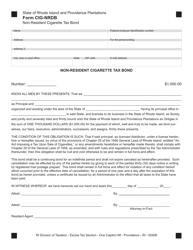 Form CIG-NRDB Non-resident Cigarette Tax Bond - Rhode Island