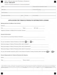 Form TOB-APP Tobacco Products Distributor's License Application - Rhode Island