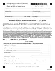 Form RI-7665 Smoking Bar Return and Revenue Report - Rhode Island