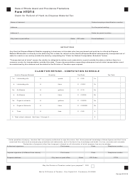 Form HTDT-5 Claim for Refund of Hard-To-Dispose Material Tax - Rhode Island