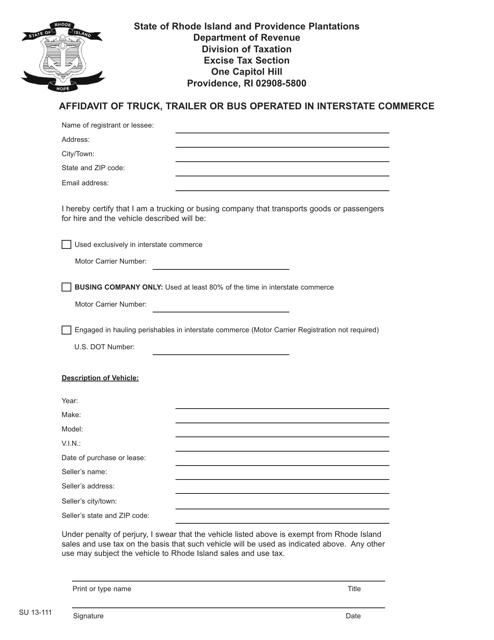 Form SU13-111  Printable Pdf