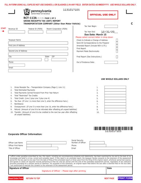 Form RCT-113A Printable Pdf