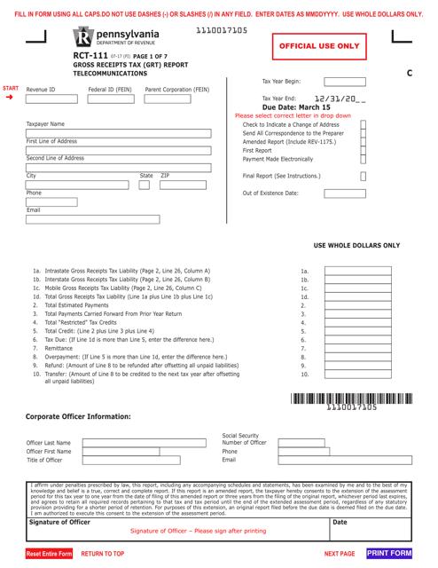 Form RCT-111 Fillable Pdf