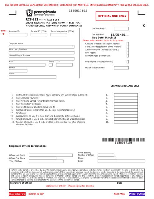 Form RCT-112 Fillable Pdf