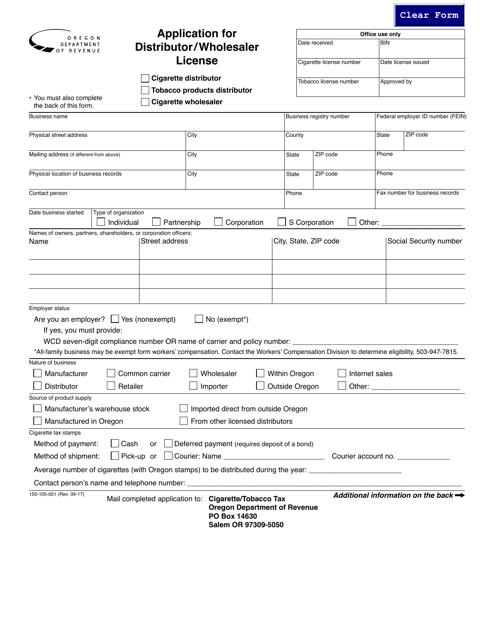 Form 150-105-001  Printable Pdf