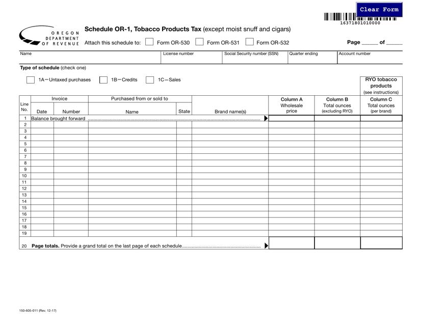Form 150-605-011 Schedule OR-1  Printable Pdf