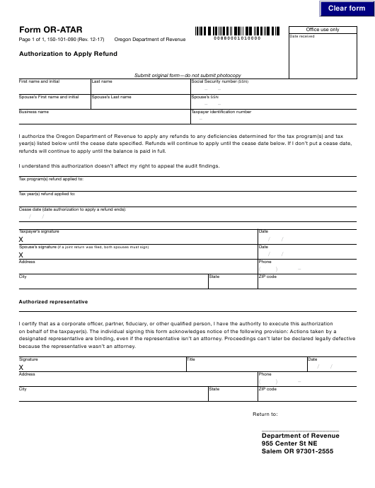 Form OR-ATAR Fillable Pdf