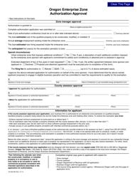 Form 150-303-082 Oregon Enterprise Zone Authorization Approval - Oregon