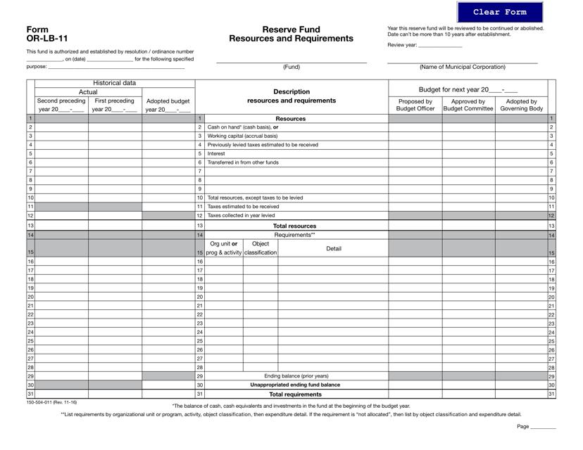 Form OR-LB-11  Printable Pdf