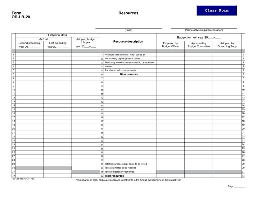 Form OR-LB-20  Printable Pdf