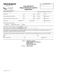 """Form OR-PLF-R """"Oregon Petroleum Load Fee Registration"""" - Oregon"""