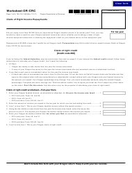 Form 150-101-168 Worksheet or-Crc - Claim of Right Income Repayments - Oregon