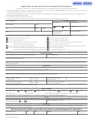 Form 150-310-085 Application for Real and Personal Property Tax Exemption - Oklahoma