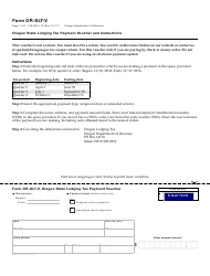 Form OR-SLT-V Oregon State Lodging Tax Payment Voucher and Instructions - Oregon