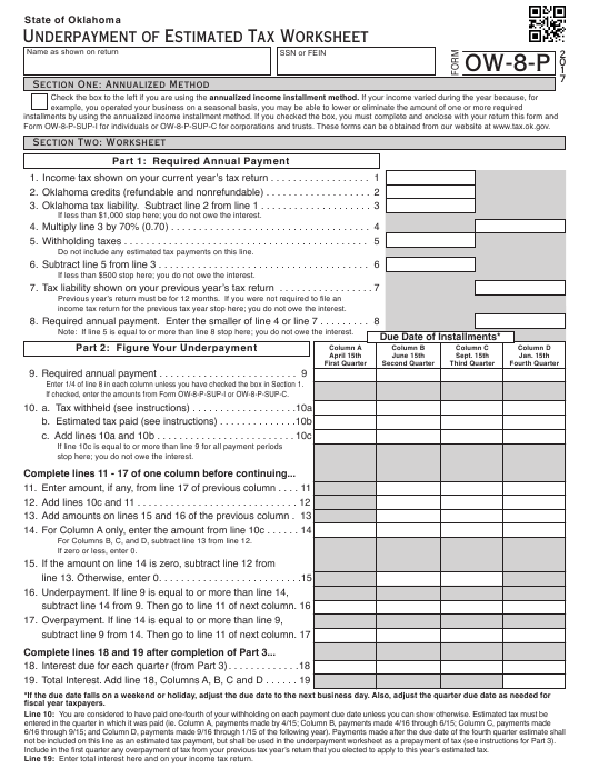 Form OW-8-P 2017 Fillable Pdf