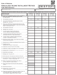Form OW-8-P-SUP-I 2017 Oklahoma Annualized Income Installment Method for Individuals - Oklahoma