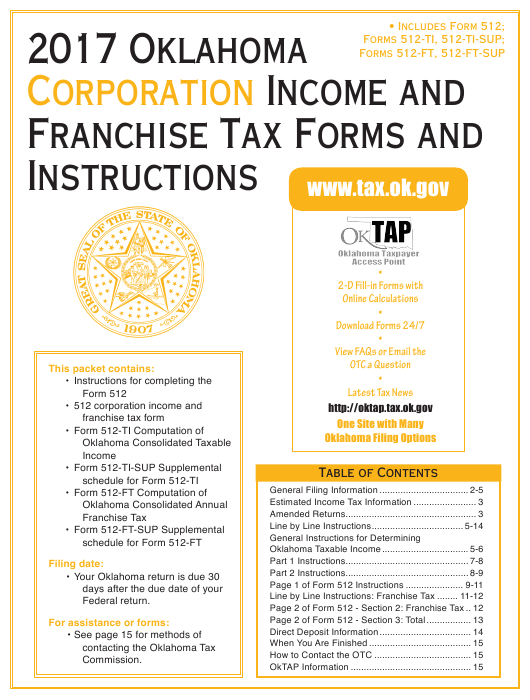 2017 Oklahoma Corporation Income and Franchise Tax Forms and