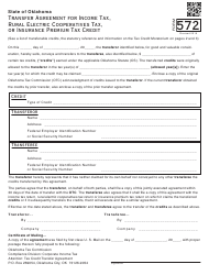 Form 572 Transfer Agreement for Income Tax or Insurance Premium Tax Credit - Oklahoma