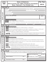 Form OTC 998 2018 Application For 100% Disabled Veterans Property Tax Exemption - Oklahoma